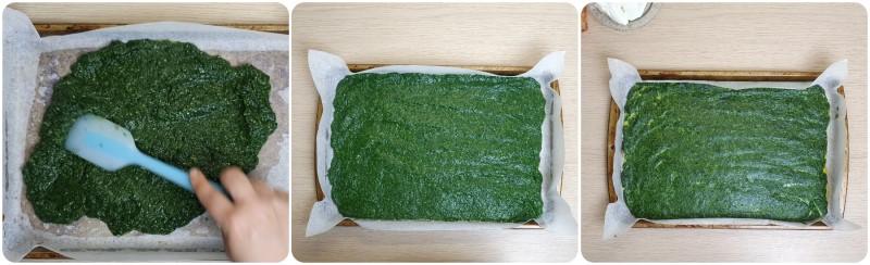 Rotolo di frittata di spinaci al forno pronta