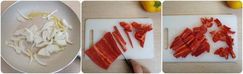 Affettare i peperoni - Ricetta insalata di grano