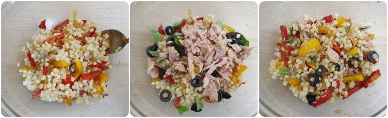 Comporre l'insalata di grano con peperoni e tonno