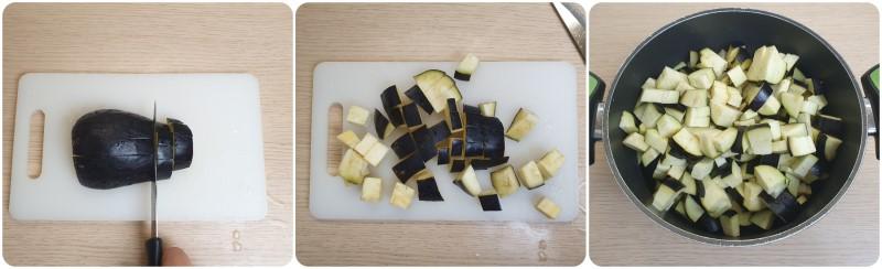 Tagliare le melanzane a dadini - Ricetta Polpette di melanzane