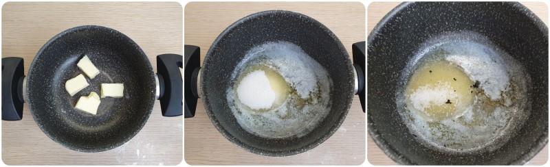 Fondere il burro con lo zucchero - Ricetta Budino al cioccolato