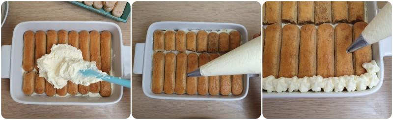 Unire la crema - Tiramisu con panna