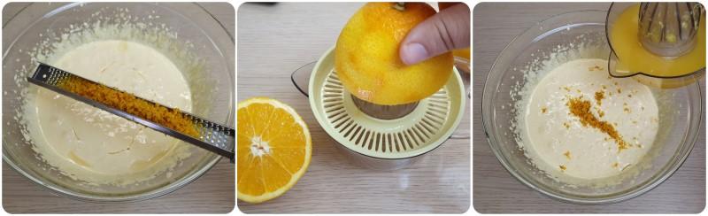 Aggiungere la scorza e il succo di arancia - Chiffon Cake arancia