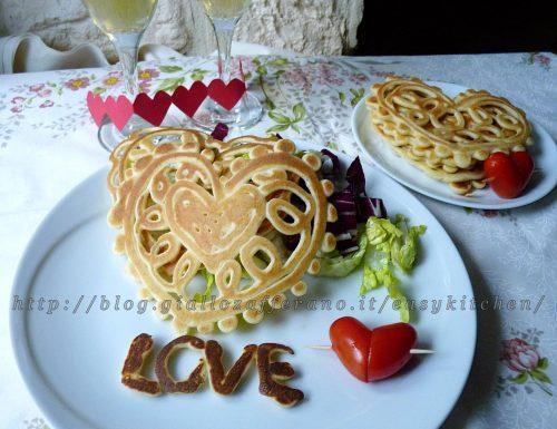 Pancake art cuori al gorgonzola ricetta romantica