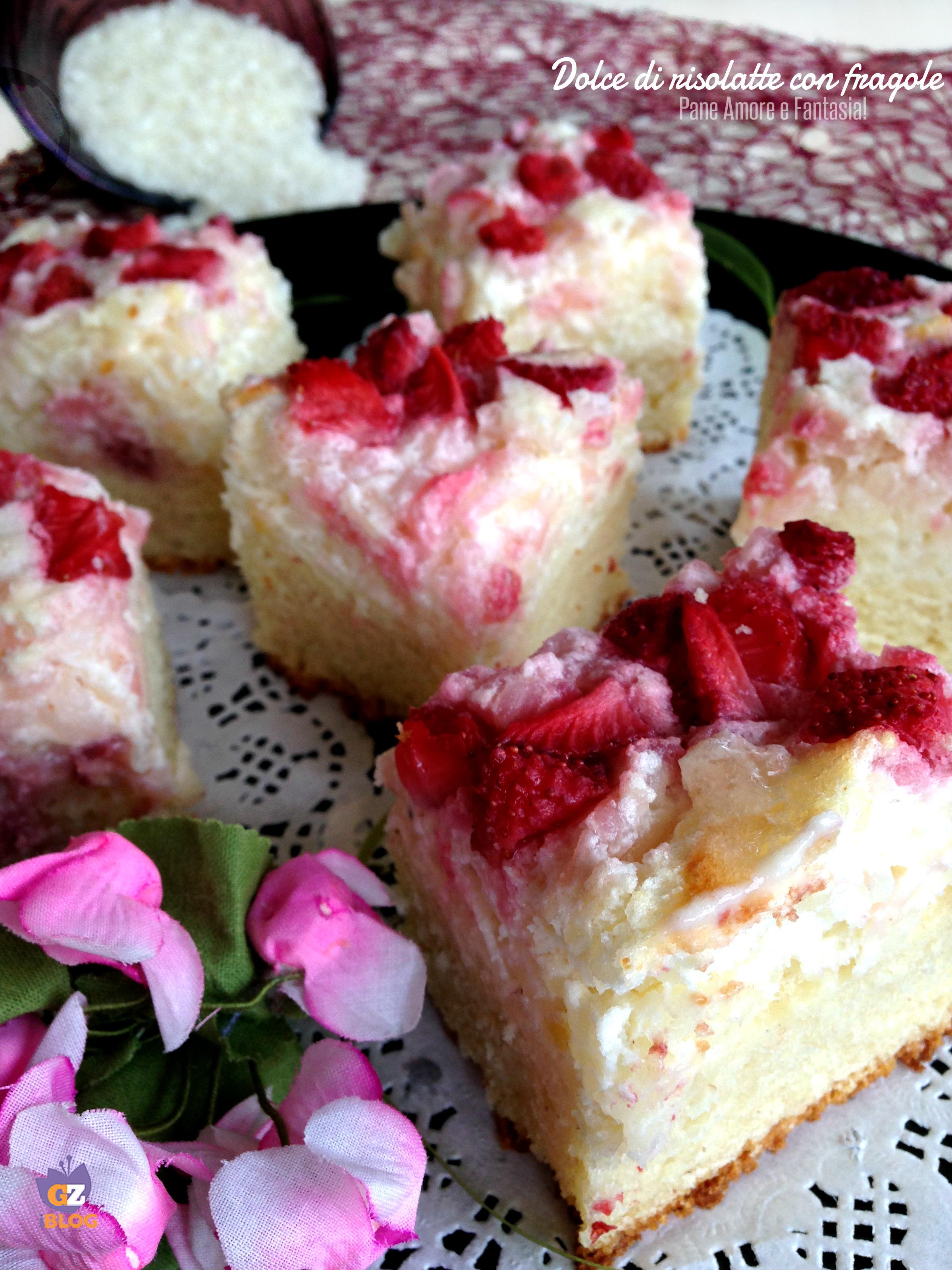 dolce di risolatte con fragole