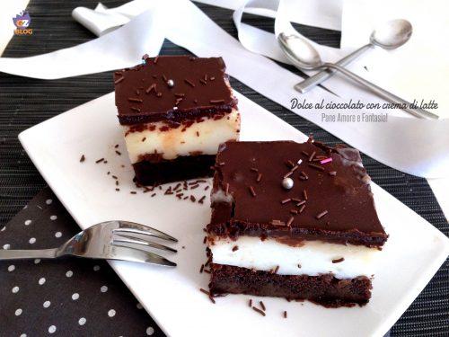 Dolce al cioccolato con crema di latte