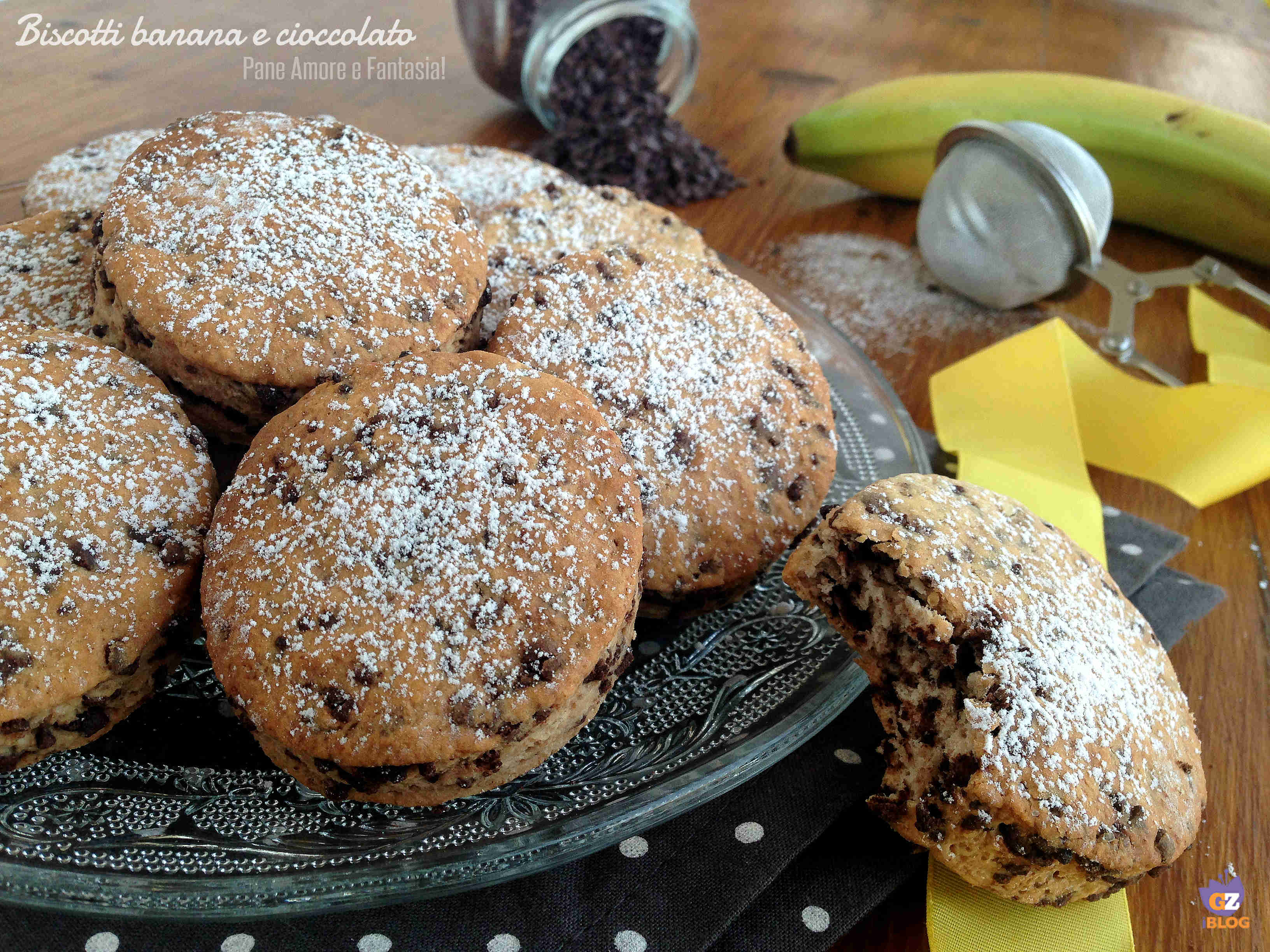 biscotti banana e cioccolato