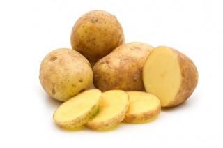 slice potato on white background