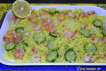 Insalata di riso giallo con gamberi e finocchi-Così cucino io