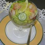 Insalata di riso giallo ai gamberi, zucchine e finocchi