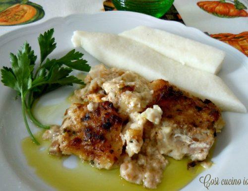 Baccalà (bacalà) alla vicentina con polenta