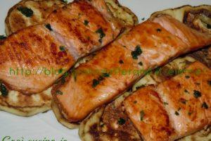 Salmone e melanzane alla griglia