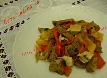 Manzo e gallina in insalata con peperoni (ricetta di riciclo)