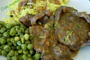 Ossobuco in salsa gremolada con riso giallo e piselli
