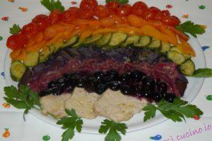 Lonza di maiale ai mirtilli e caponatina arcobaleno