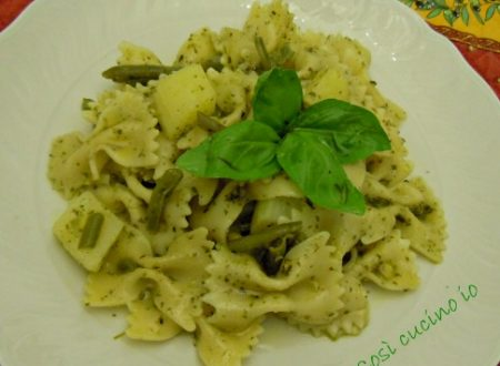 Farfalle al pesto alla genovese con patate e fagiolini alla mia maniera, ricetta rivisitata