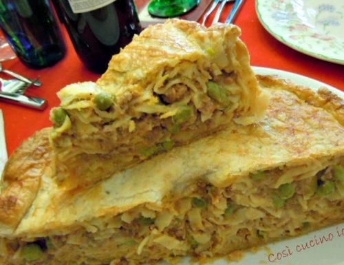 Timballo di tagliatelle salsiccia e piselli, ricetta primi piatti