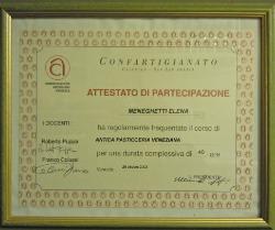 Attestato corso pasticceria veneziana