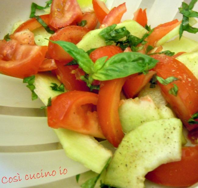 Insalata pomodoro e cetriolo melone carosello-Così cucino io