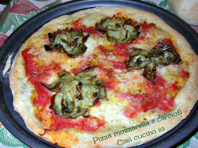 Pizza mozzarella e carciofi-Così cucino io