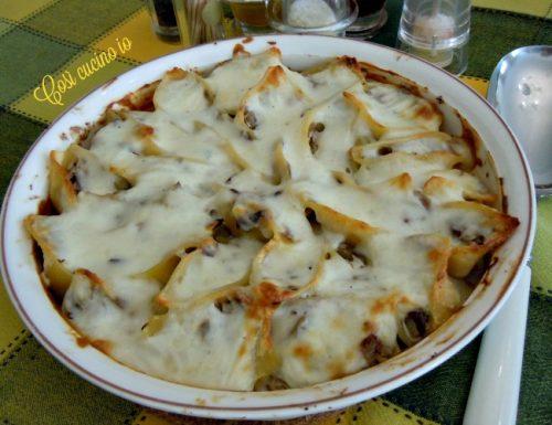 Conchiglioni radicchio e ricotta gratinati, primo piatto