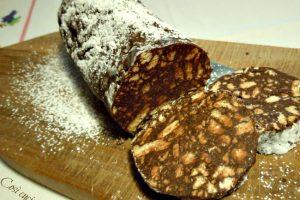 Salame dolce di cioccolato, ricetta senza uova