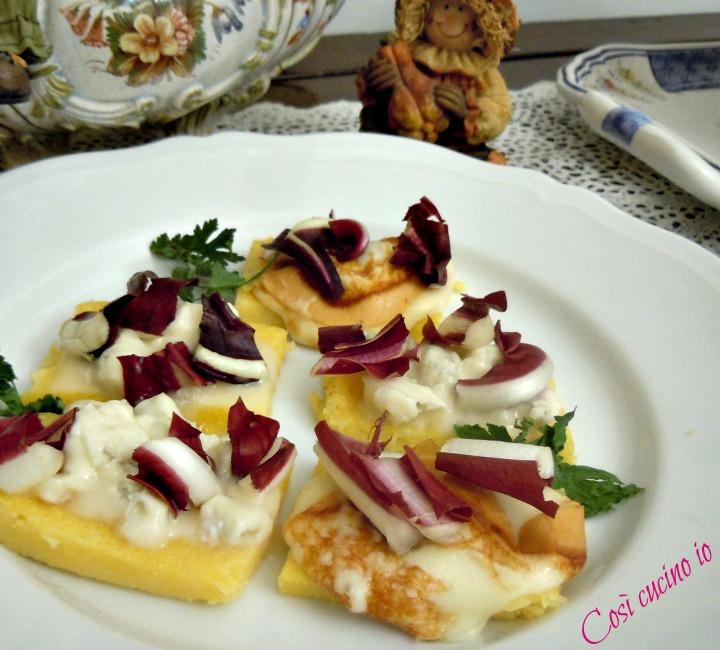 crostini-di-polenta-ai-formaggi-e-radicchio-tardivo - Così cucino io