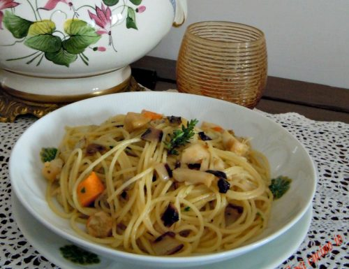 Spaghettini capesante e radicchio tardivo