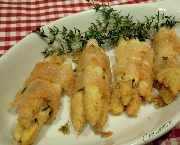 Involtini di asparagi bianchi di bassano in lardo di colonnata - Così cuci