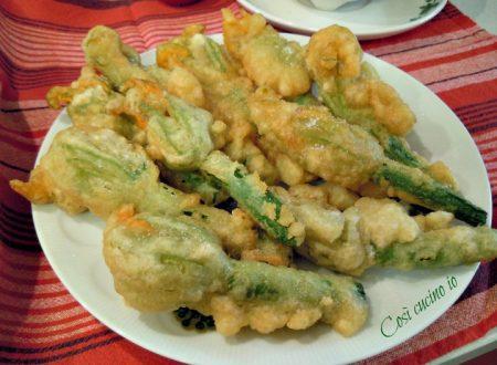 Zucchine con fiore in tempura leggera