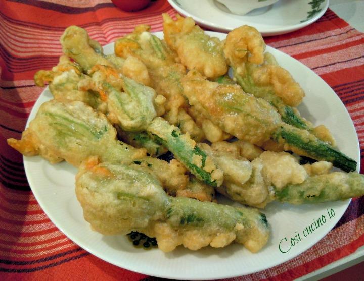 Zucchine con fiore in tempura semplice - Così cucino io