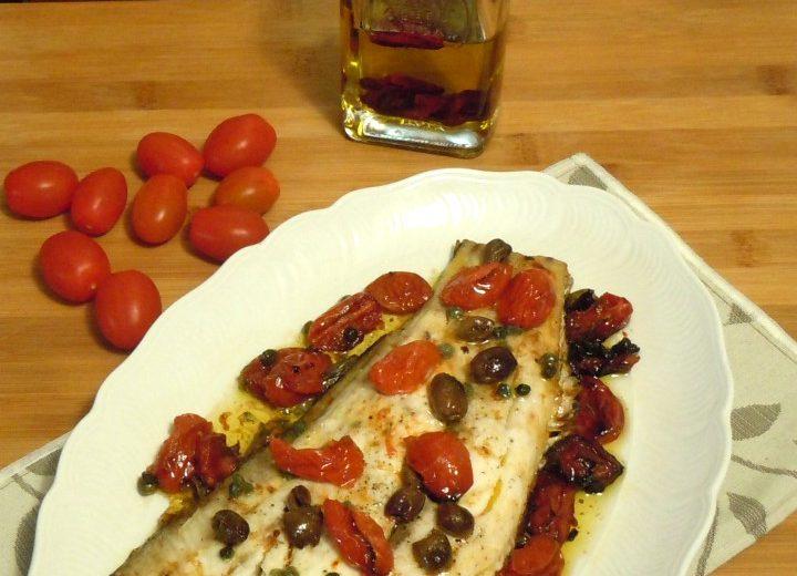 Ombrina al forno con pomodorini e olive taggiasche