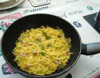 Tagliolini agli asparagi e pancetta dolce - Così cucino io