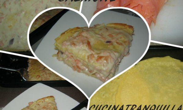 Timballo al salmone ( crepes con farina di ceci e riso con salmone)