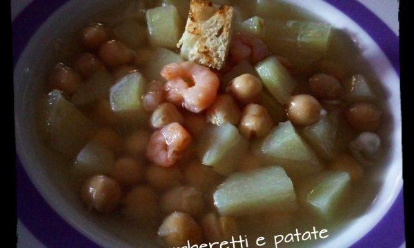 Zuppa di ceci,patate e gamberetti