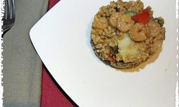 Insalata di Farro, curry e gamberetti