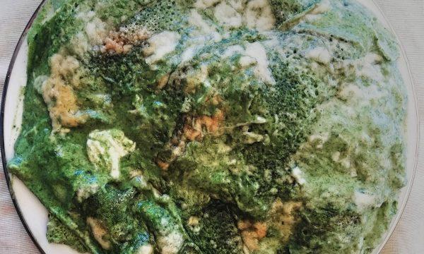 Timballo di crepes di farina di riso, spinaci, stracchino e provoletta