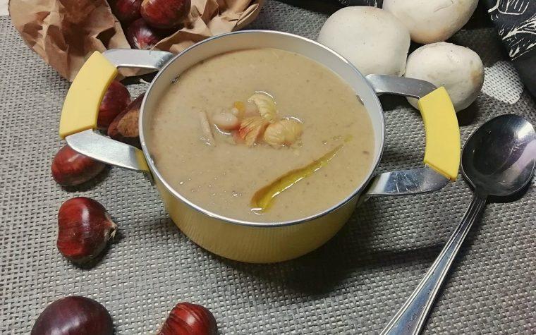 zuppa di castagne, funghi e cannellini