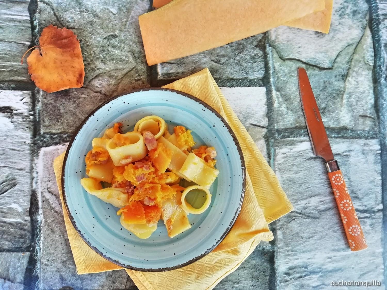 Paccheri con zucca e pancetta