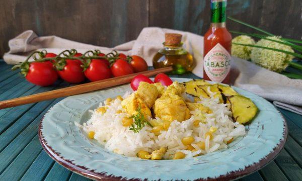 Riso Basmati con pollo al curry e Tabasco