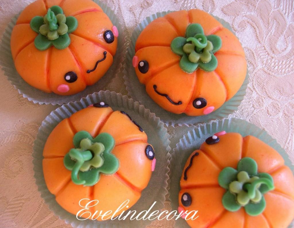 Tartufi al cioccolato a forma di zucca decorati con pasta di zucchero Halloween Evelindecora