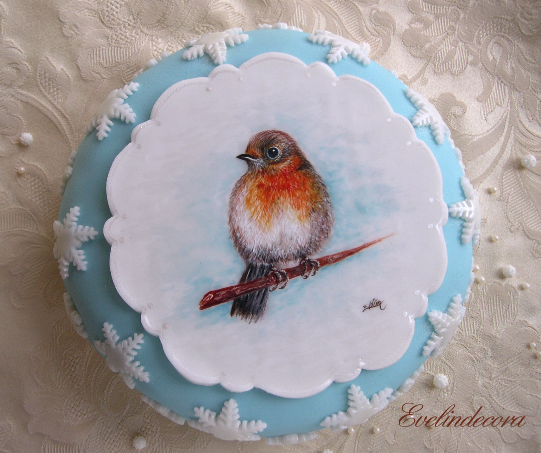 Torta dipinta a mano con decorazioni in pasta di zucchero for Decorazioni zucchero a velo