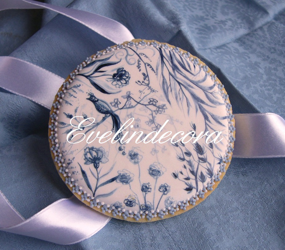 toile de jouy biscotti decorati con ghiaccia reale evelindecora