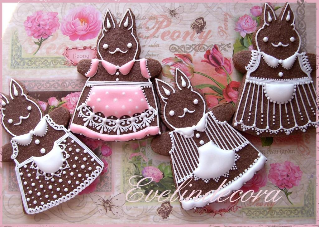 biscotti ghiaccia reale al cacao - Coniglietti Pasqua Evelindecora