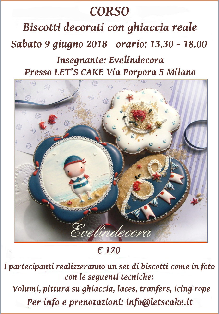 corso cake design biscotti decorati Evelindecora Milano
