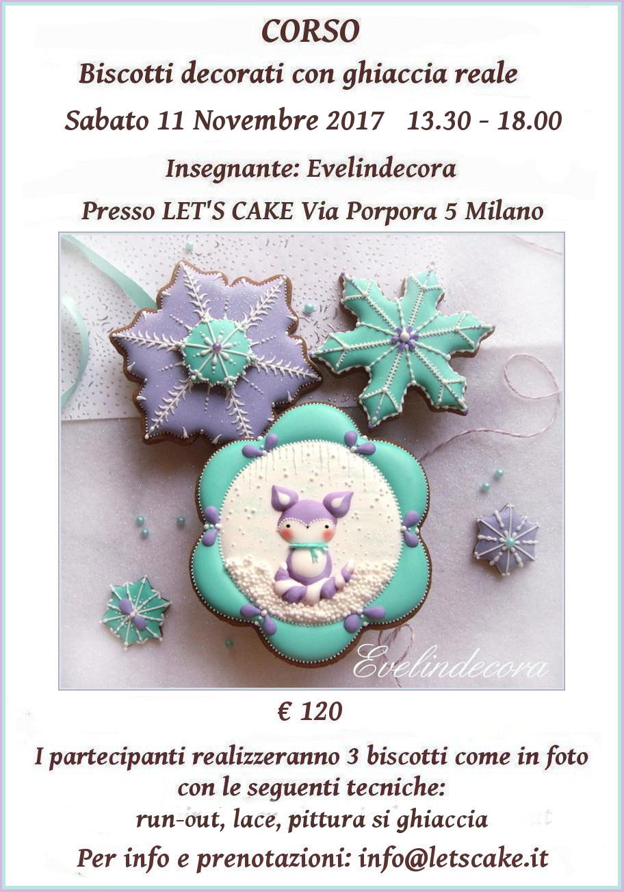 corso ghiaccia reale: biscotti decorati Winter fox - insegnante Evelindecora - Milano 11 novembre 2017