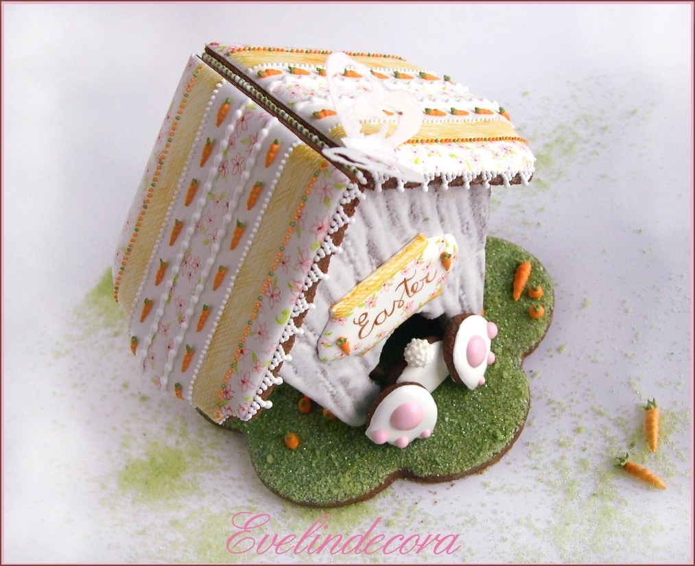 Biscotti decorati Evelindecora - Easter bunny cookie house
