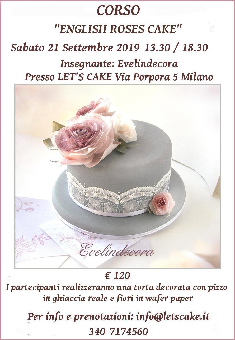 Torta decorata con ghiaccia reale e rose in ostia CORSO Evelindecora Milano