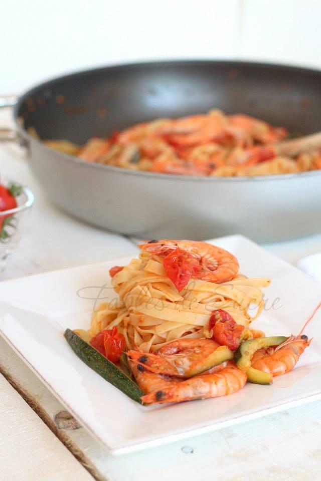 Mazzancolle e zucchine con lasagnette