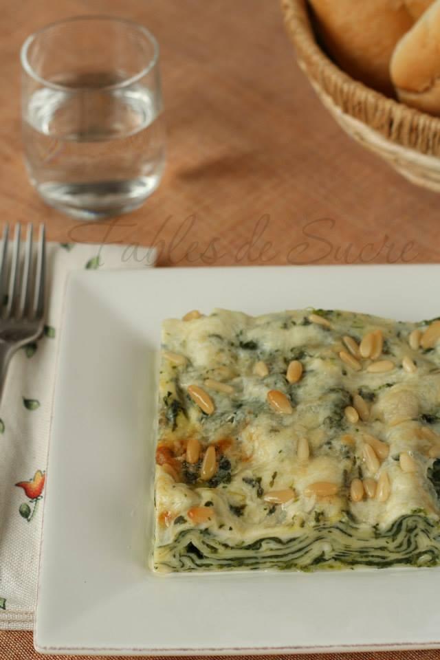 Lasagna spinaci gorgonzola e pinoli